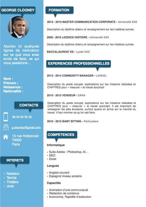 Exemple Type Cv by Exemples De Cv 233 Tudiants Gratuits