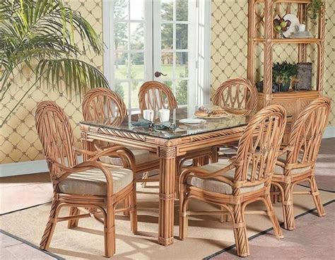 Rattan Dining Room Furniture New Twist Rectangular Wicker Rattan Table Dining Room Set South Sea Rattan