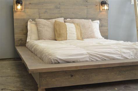 floating wood platform bed frame with lighted headboard