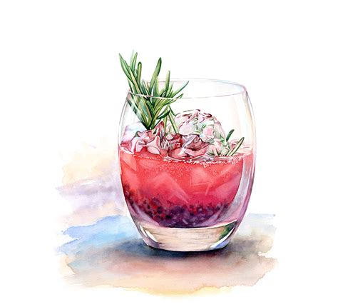 watercolor cocktail watercolor drinks and deserts on behance