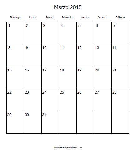 Calendario De Marzo 2015 Calendario Marzo 2015 Para Imprimir Gratis