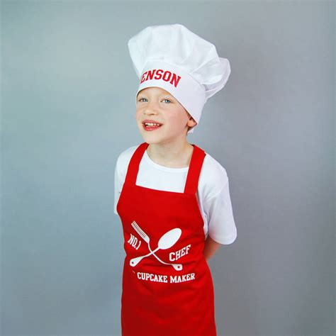 personalised children s apron and chef hat set by simply