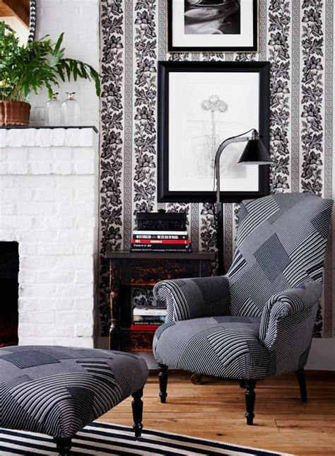 Fabric Armchairs And Ottomans by Black And White Patchwork Fabric On The Renaissance