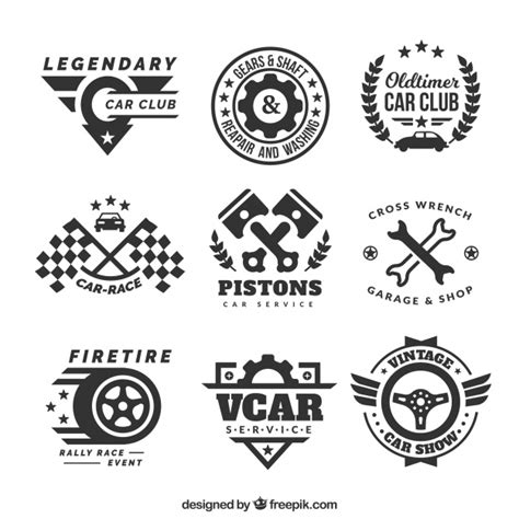 Auto Logo Design Free by Decorative Logos With Car Elements Vector Free Download