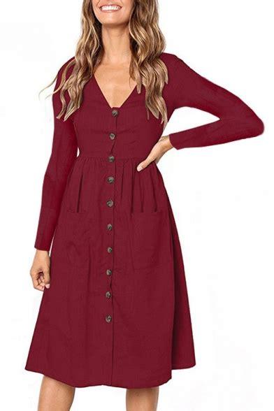 Plain V Neck A Line Dress reviews for button front v neck sleeve plain midi a