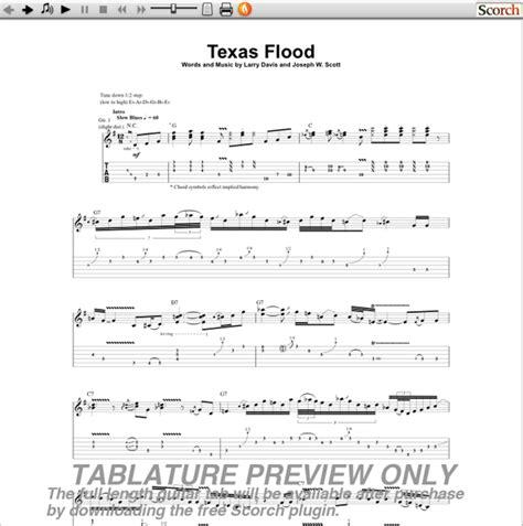 stevie ray vaughan texas flood guitar tab  srv guitar tabs