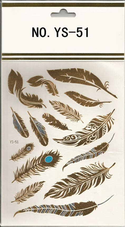 temporary tattoo paper buy feather design 1sheet flash gold temporary