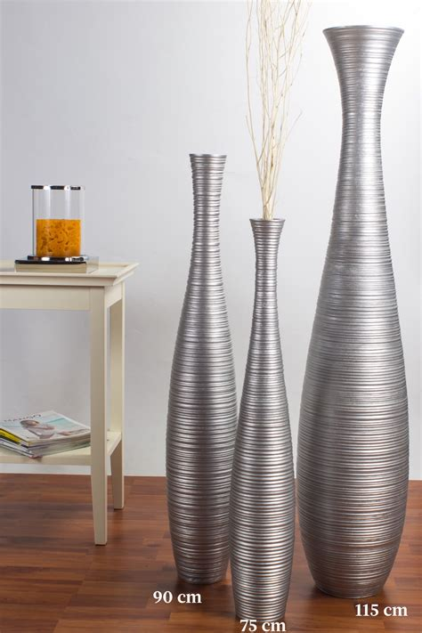 Silver Coloured Vases by Floor Vase 90 Cm Mango Wood Silver Coloured Ebay