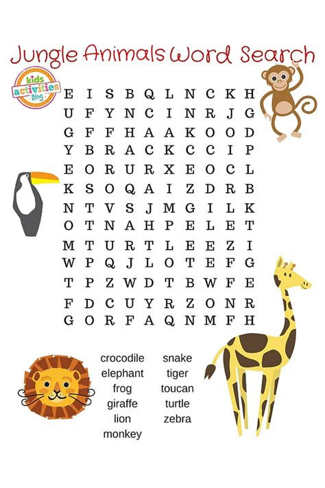 printable animal words jungle animals word search printable
