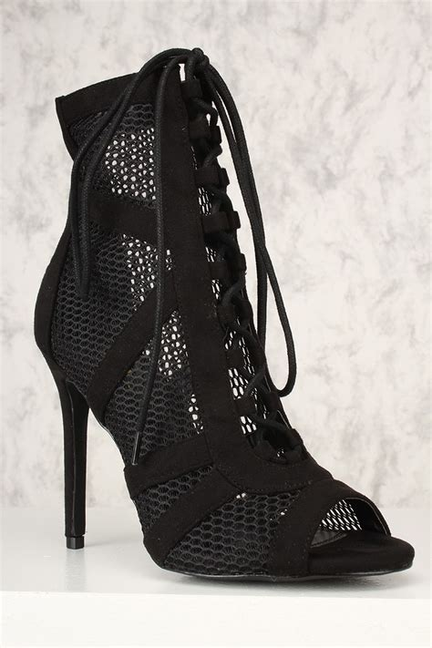 high heel booties with laces black mesh lace up peep toe high heel booties faux suede