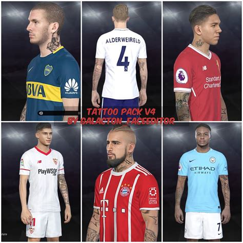 tattoo pack pes 2018 pes 2018 tattoo pack v4 by galacton faceeditor edy patch
