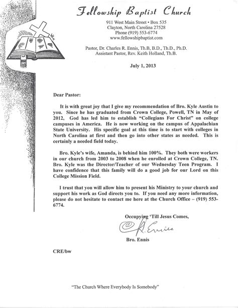 Letter Of Recommendation Youth Pastor sle recommendation letter for youth leadership program