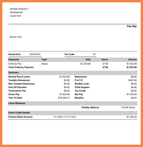 payslip template free 7 free sle payslip template salary slip