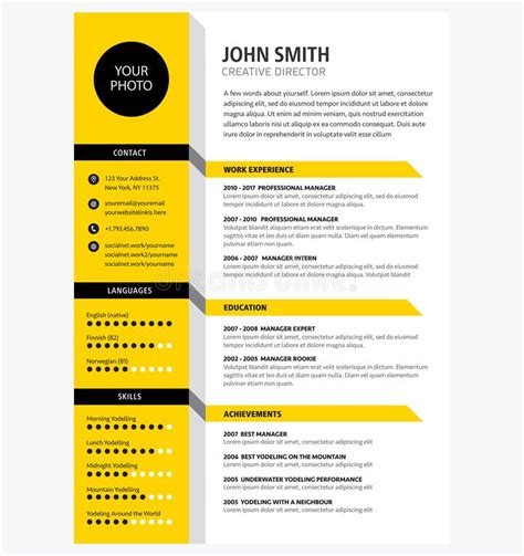 creative cv resume template yellow color minimalist