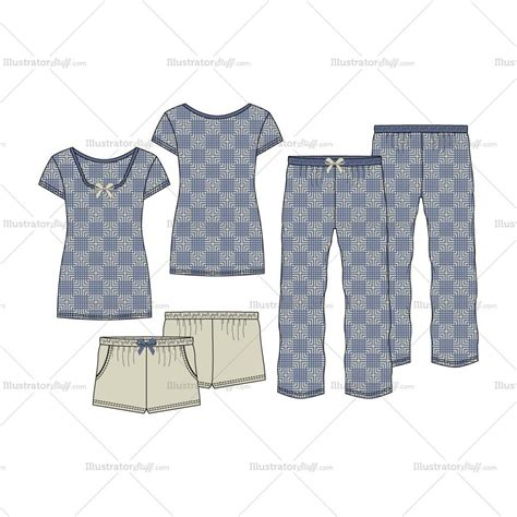 pajama template s sleepwear pajama fashion flat template set