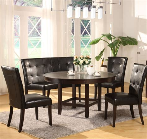 banquette with round table modus bossa 54 inch round dining table in dark chocolate