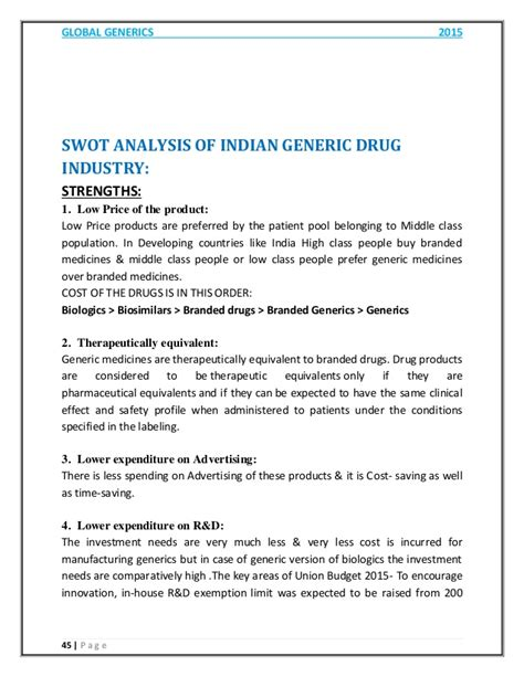 Mba Swot Analysis Of Pharmaceutical Industry by Global Generics Pharmaceutical Industry Report 2015