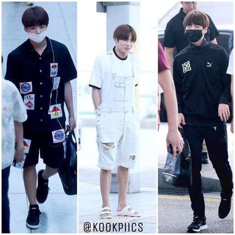 bts jungkooks  style choices  airport
