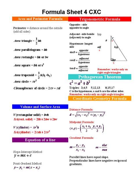 Maths Formula Sheet For Csec Triangle Trigonometric