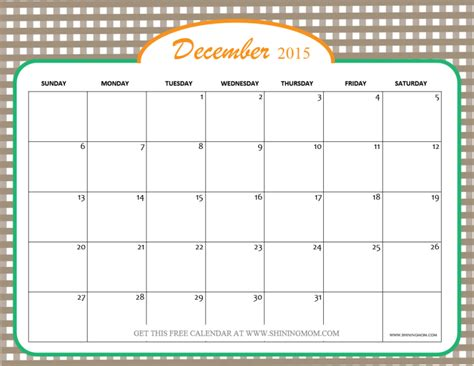printable schedule december 2015 december 2015 calendars christmas themed designs
