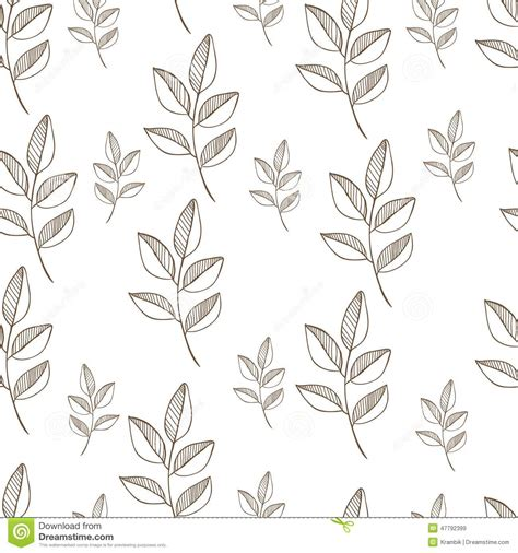 pattern in nature drawing seamless nature pattern with graphic brunch hand stock