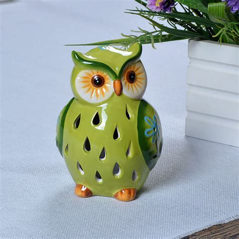 solar powered led ceramic owl outdoor decor light tj16004g ceramic owl solar color changing led light green