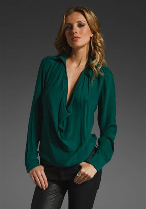 Emerald Blouse by Haute Hippie Cowl Blouse In Green Emerald Lyst