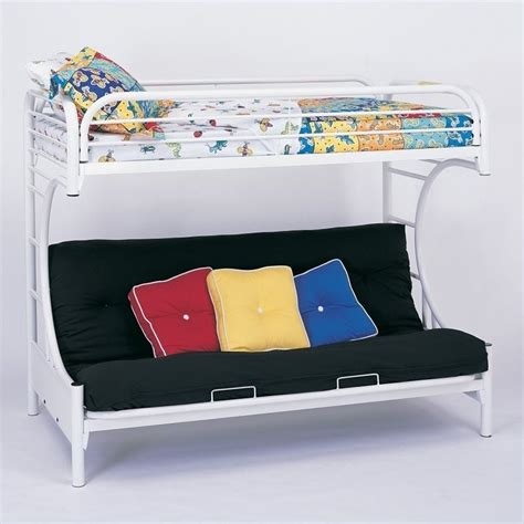 twin over futon bunk bed coaster c style metal twin over futon bunk bed white