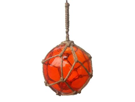 buy orange japanese glass ball fishing float with brown