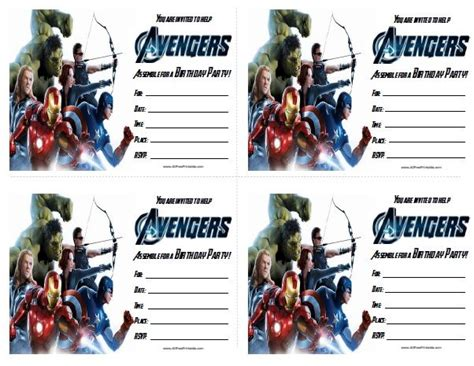 Printable Birthday Invitations Avengers   free printable avengers birthday invitations birthday