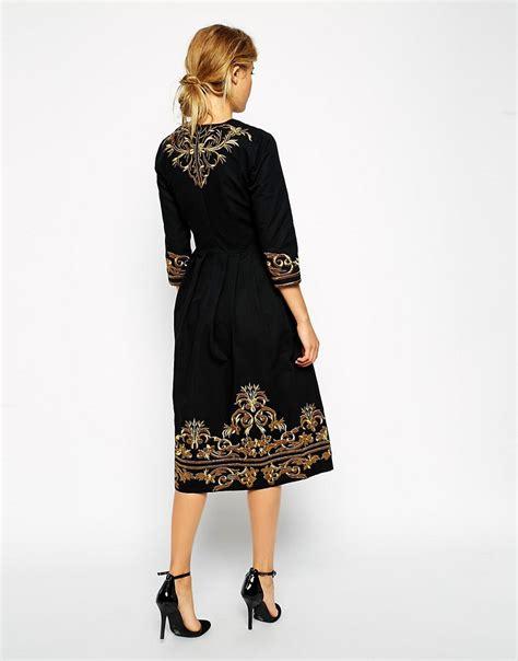 Dress Midi Kalung Premium asos asos premium midi dress with metallic embroidery at asos
