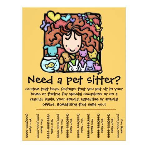 pet sitting templates free pet sitter promotional tear sheet flyer zazzle