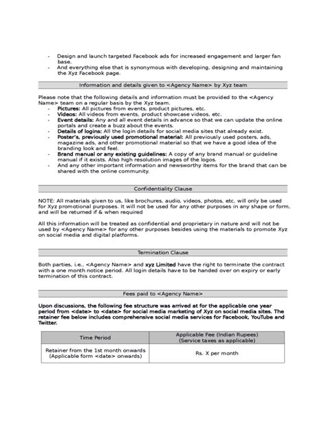 Sle Social Media Marketing Agreement Free Download Social Media Contract Template