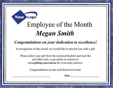 manager of the month certificate template employee recognition gift catalog packets customizing