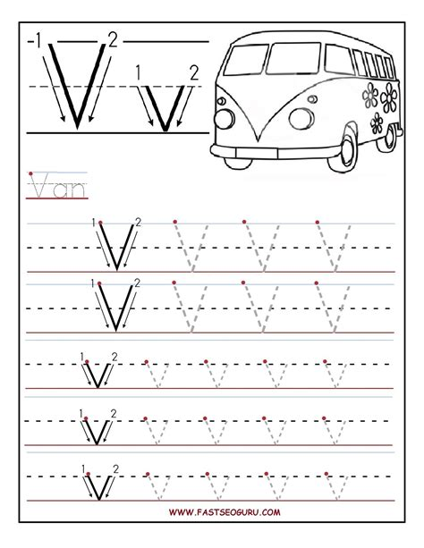 printable worksheets for kindergarten on alphabet printable letter v tracing worksheets for preschool