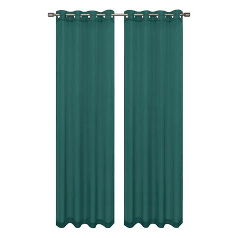 Teal Grommet Curtains Window Elements Sheer Voile Grey Teal Grommet Wide Curtain Panel 56 In W X 90 In