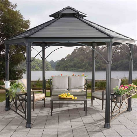 permanent gazebo sunjoy 12 ft w x 12 ft d metal permanent gazebo wayfair ca