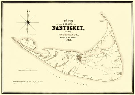 nantucket map historic city maps nantucket island massachusetts ma by e bouve 1838