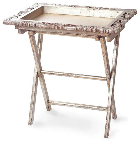 Silver Leaf Finish Folding Tray Table   Traditional   Tv Trays   by Bliss Home & Design