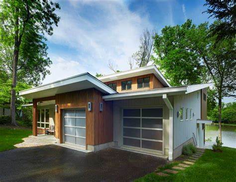 Mid Century Modern Home Designs With White And Brown Stylish Home Designs