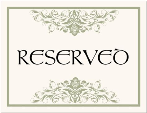 reserved cards for tables templates reserved table card template pictures to pin on