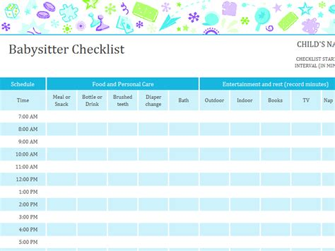 babysitter checklist with schedule for excel 2013 or newer