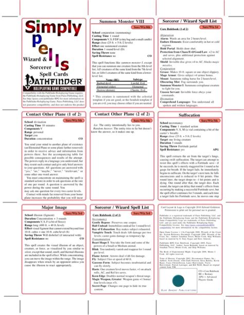 Pathfinder Spell Card Template by Paizo Simply Spells Sorcerer Wizard Spell Cards