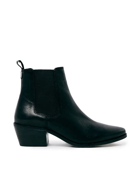 chelsea boots black lyst dune peetra black pointed chelsea boots in black
