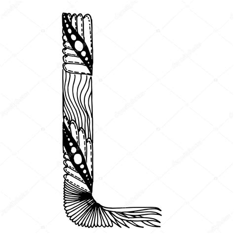 lettere stilizzate lettere stilizzate di zentangle lettera l vettoriali