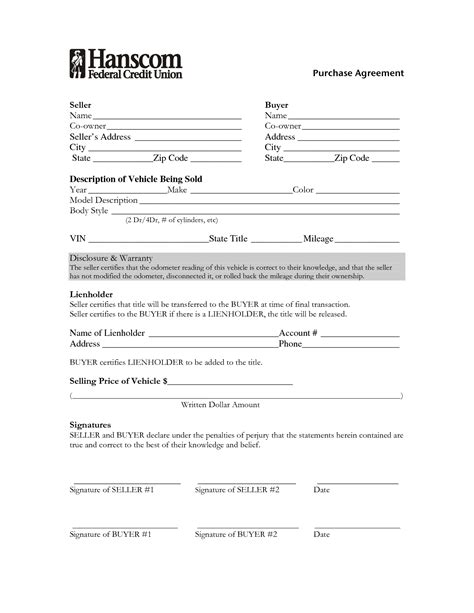 Used Car Purchase Agreement Form Portablegasgrillweber Com Used Car Agreement Template