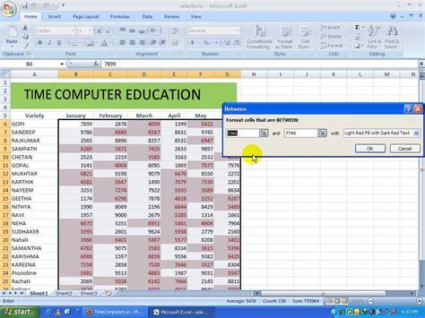 excel 2013 tutorial in telugu ms excel 2007 in telugu part4 www timecomputers in