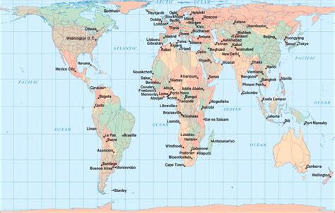world map of cities and countries world map with capital cities
