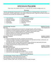 best lead massage therapist resume example livecareer