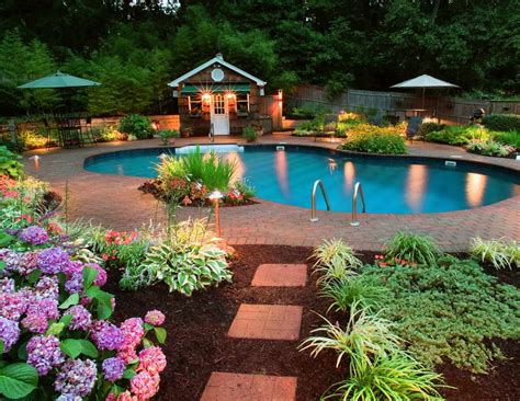 Backyard Landscaping With Pool Bloombety Beautiful Backyards On A Budget With Green Umbrella Beautiful Backyards On A Budget